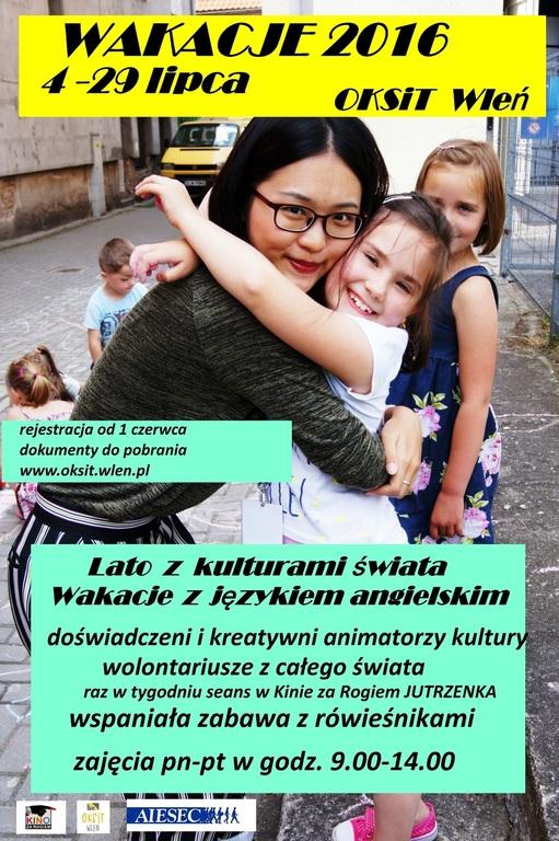Plakat zapraszający na wakacje z OKSiT-em (link otworzy duże zdjęcie)