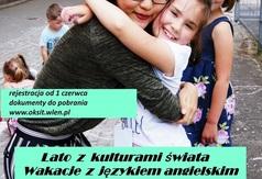 Plakat zapraszający na wakacje z OKSiT-em