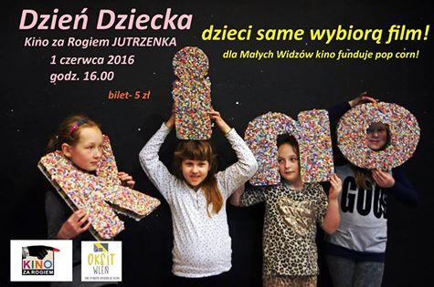 Plakat zapraszający na Dzień Dziecka w Kinie za Rogiem we Wleniu (link otworzy duże zdjęcie)