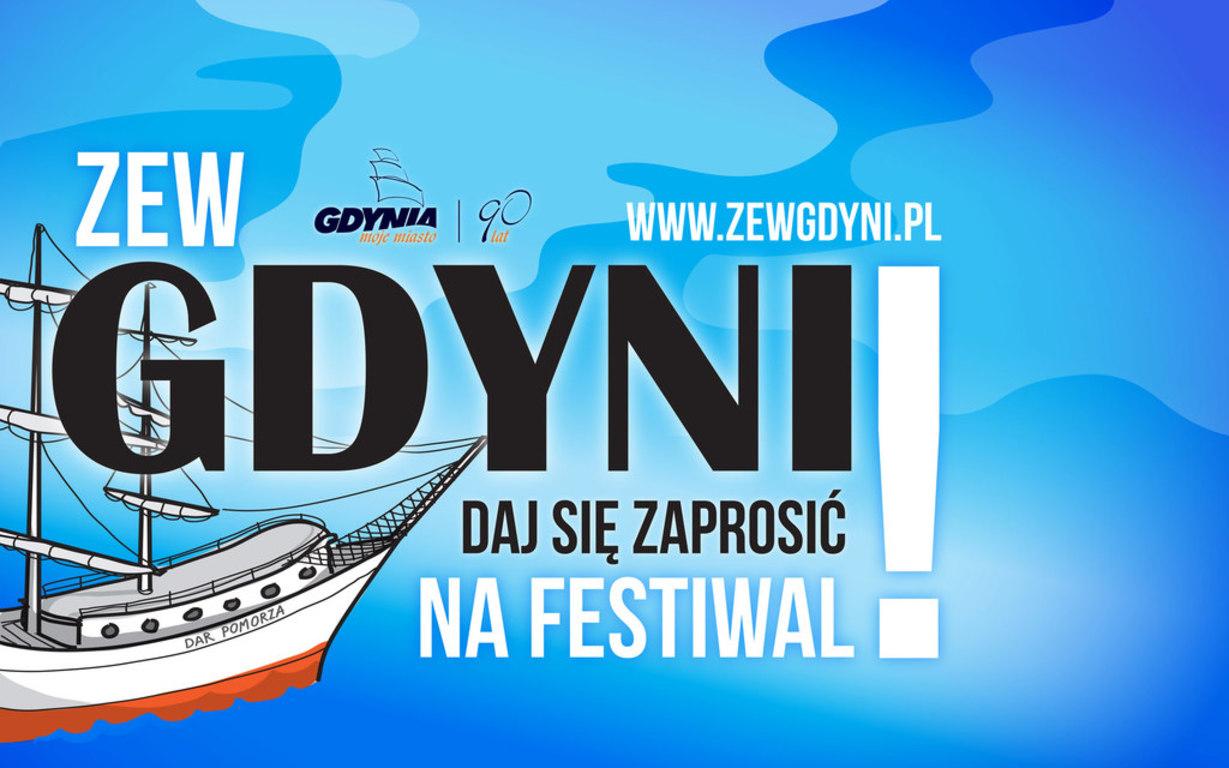 Plakat zapraszający na festiwal filmowy ZEW GDYNI (link otworzy duże zdjęcie)