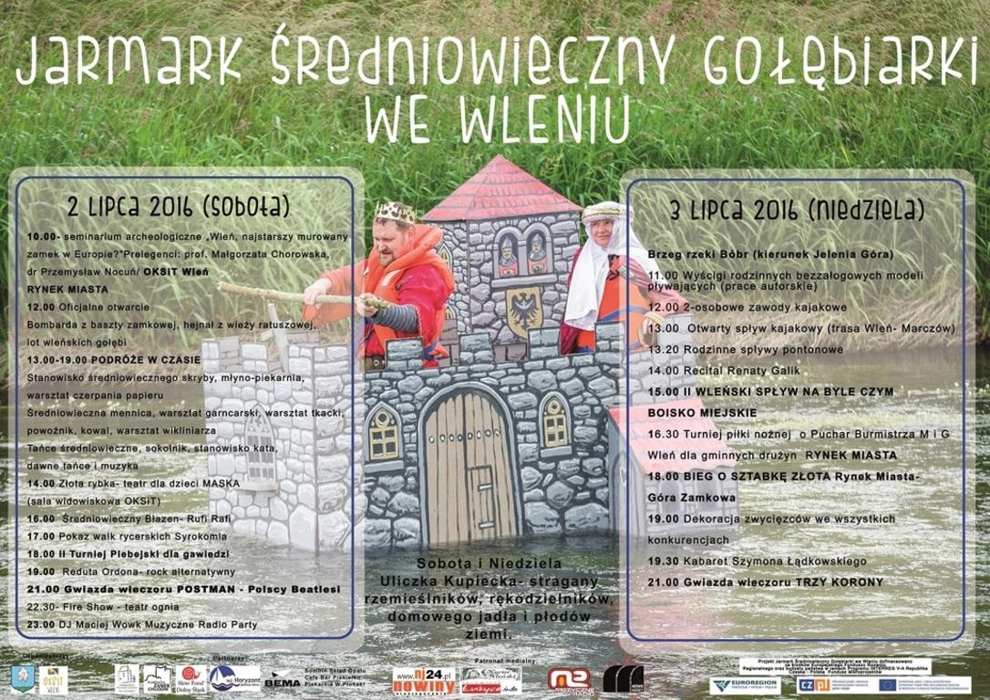 Plakat: Program Drugiego Jarmarku Średniowiecznego, 2-3 lipiec 2016 (link otworzy duże zdjęcie)
